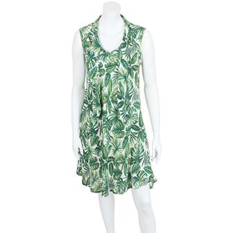 Neck Tie Jungle Print Dress