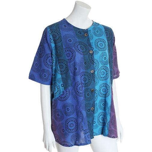 Mandala Print Button Blouse