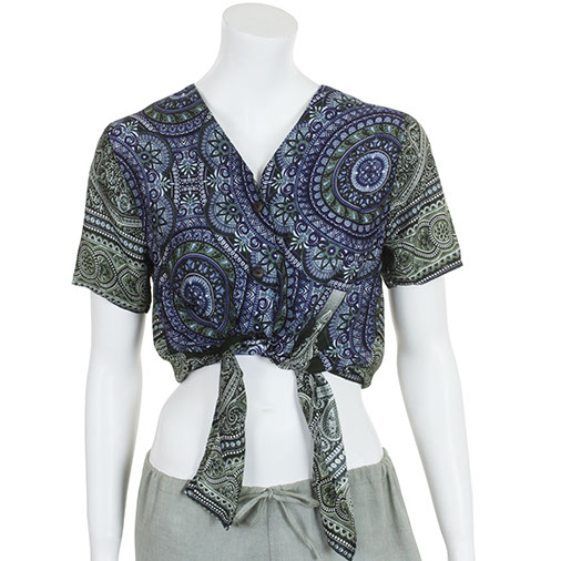 Circle Print Ladies Tie Shirt