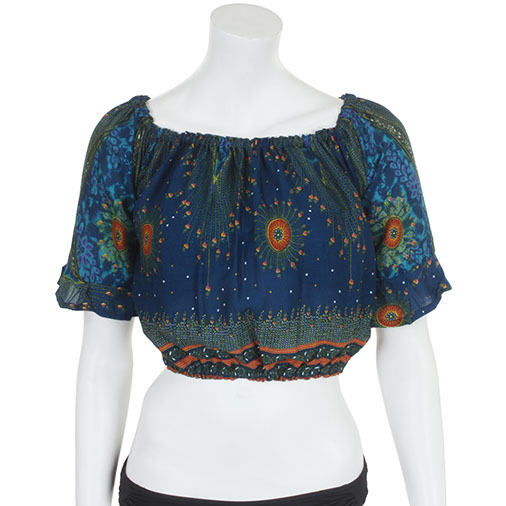 Peacock Print Bardot Top
