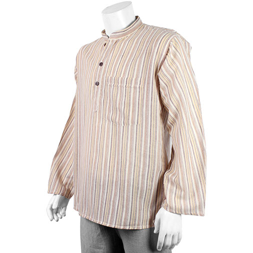 Cream Fair Trade Stripy Collarless Grandad Shirt