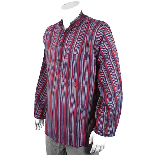 Stripy Grandad Shirt Deep Mix Colours Handmade Fair Trade