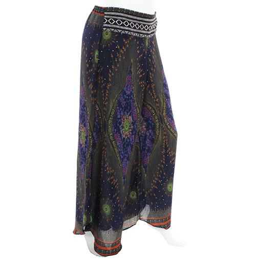 Peacock Print Thai Trim Trousers