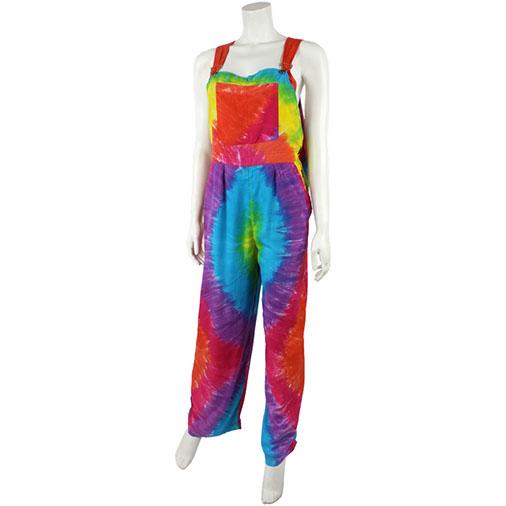 9a802e03c1b63 Rainbow Tie Dye Dungarees Hippy Chic Festival Fair Trade