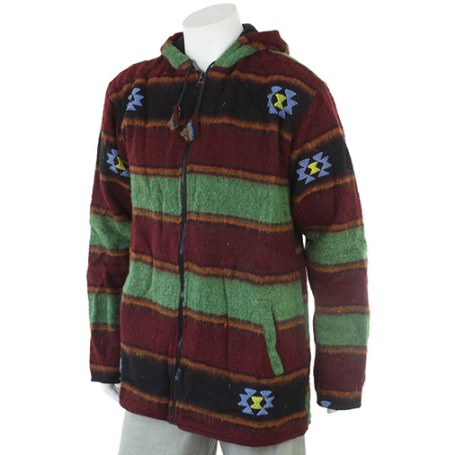 Nepalese Yak Jacket Hoodies Winter Coat Handmade Fair Trade