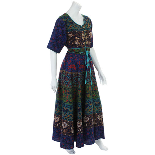 Bedspread Maxi Dress with Sleeves
