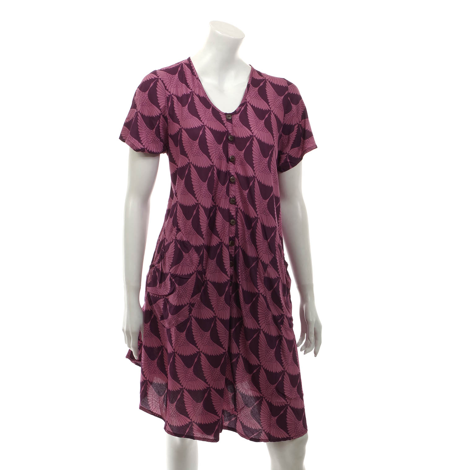 Heron Print Button Dress